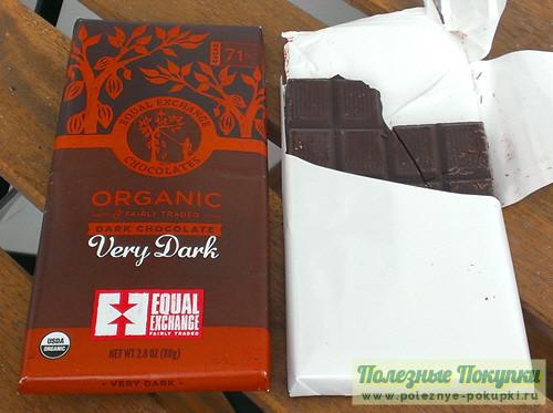 Органический темный шоколад с ванилью Equal Exchange Very Dark 71% какао